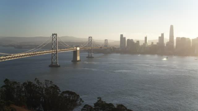 Evening Sunlight on the Bay Bridge and San Francisco Skyline - Drone Shot video
