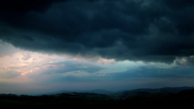 Evening thunderstorm - fantastic landscape video background. video