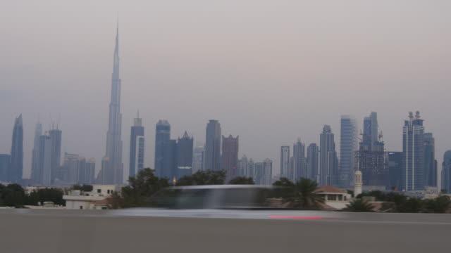 evening time dubai city al wasl road trip downtown  4k united arab emirates video