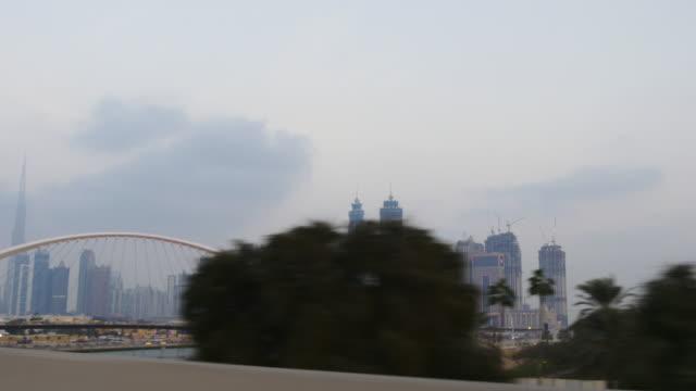 evening time dubai city al wasl road trip park  4k united arab emirates video