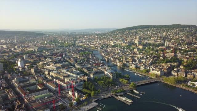 evening time zurich city lake bay park aerial panorama 4k switzerland