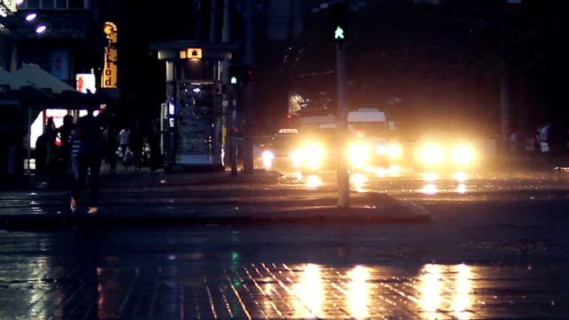 Evening traffic under the rain video