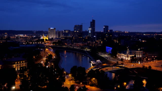 Evening View City Center Vilnius With Modern Tall Buildings, Illumination Road video