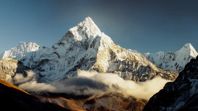 evening view of ama dablam on the way to everest base camp - nepal - пик стоковые видео и кадры b-roll