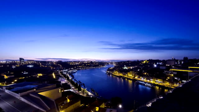 Evening view of Douro river and City of Porto, Portugal video