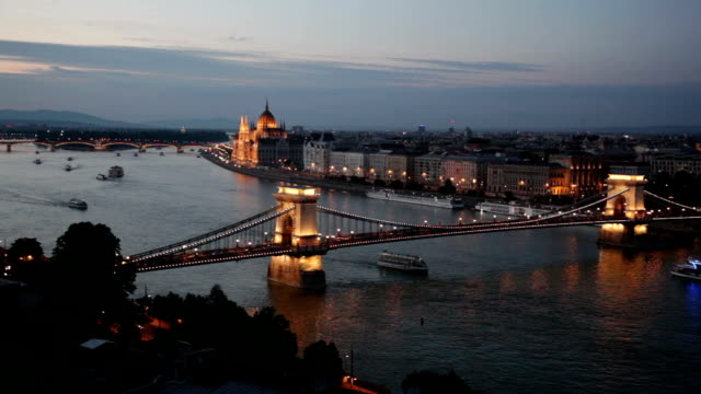 Evening waterscape of Budapest centre with The Széchenyi Chain Bridge video
