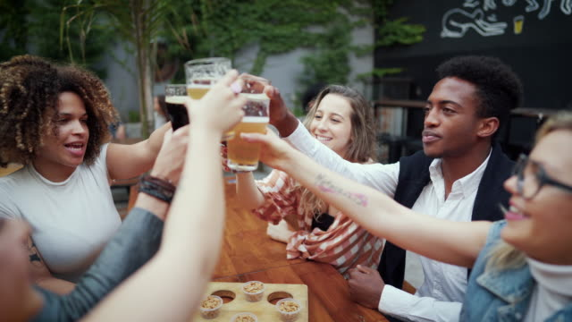 everything celebration deserves a cold beer to set the mood - happy hour video stock e b–roll