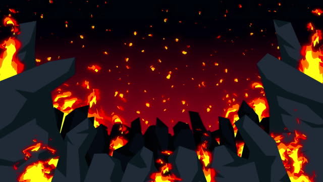 Evil abstract animation, Apocalyptic hell background, Fire flames on spooky wilderness, Cartoon loop animation. injustice. badness. failure. Scary wasteland of fire graphic. Danger hell backgrounds. hell stock videos & royalty-free footage
