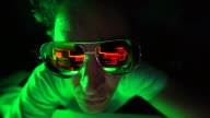 istock Evil hacker looking at code with sunglasses. 1204817447