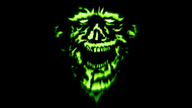 Bösen Dämon Kopf mit zerrissenen Gesicht lachen. – Video