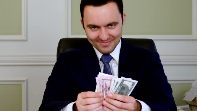 Evil satisfied business counting money video