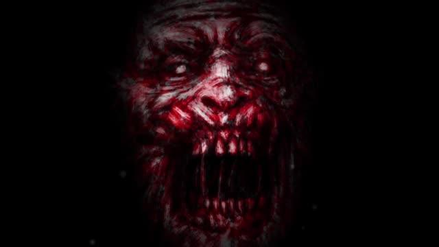 evil zombie face animation on black background - potwór filmów i materiałów b-roll