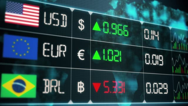 Evolution of Brazilian Real, Euro, US dollar currencies with up and downs. Currency market with green and red digital animation of prices in the world, with financial and ecomonic crisis