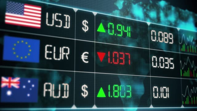 Evolution of currencies in the world market with up and downs of Australian dollar, Euro, US dollar. Currency market with green and red digital animation of prices in financial and ecomonic crisis