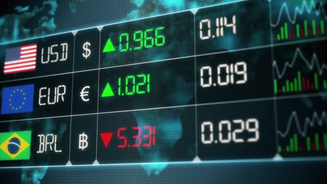 Evolution of currencies in the world market with up and downs of Brazilian Real, Euro, US dollar. Currency market with green and red digital animation of prices in financial and ecomonic crisis