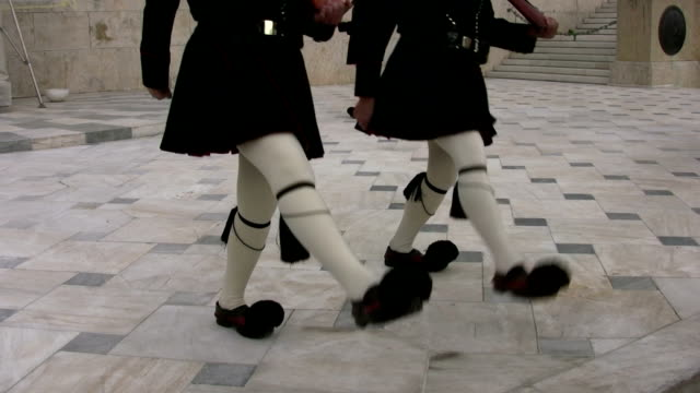 Evzones Marching in Change of Guard Ceremony, Athens, Greece video
