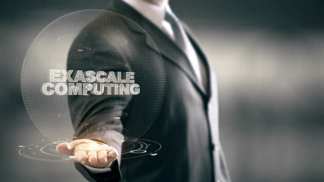 Exascale Computing with hologram businessman concept video