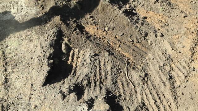 Excavator Graben Schmutz von oben – Video