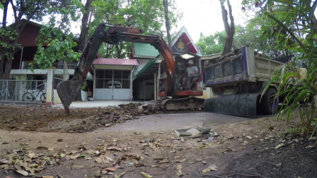 Excavator or backhoe at the construction site. video