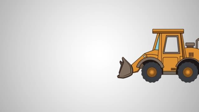 excavator tractor animation icon video