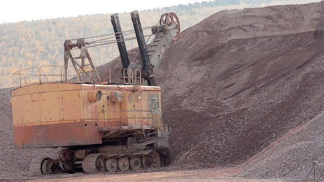 Excavator Working In A Guarry
