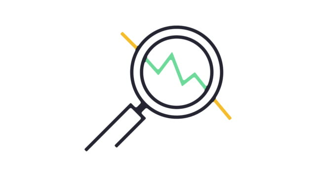 Exchange Market Icon Animation Thin line animation of market trends icon on white background. growth icon stock videos & royalty-free footage