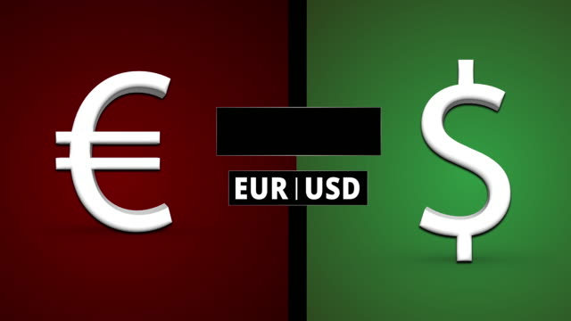 EUR / USD Exchange Rate Scenerios 3D Animation; Euro Falling, Dollar Rising
