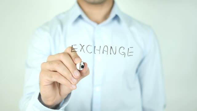 exchange rates, writing on transparent screen - simbolo della sterlina video stock e b–roll