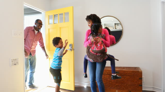 Excited African American Family Arriving at Home video
