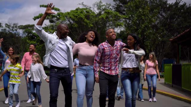 aufgeregt afroamerikanische familie mit jugendlichen, die spaß an einem vergnügungspark - volksfest stock-videos und b-roll-filmmaterial