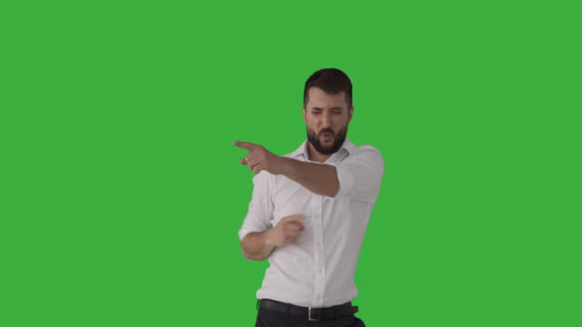 Excited man dancing video