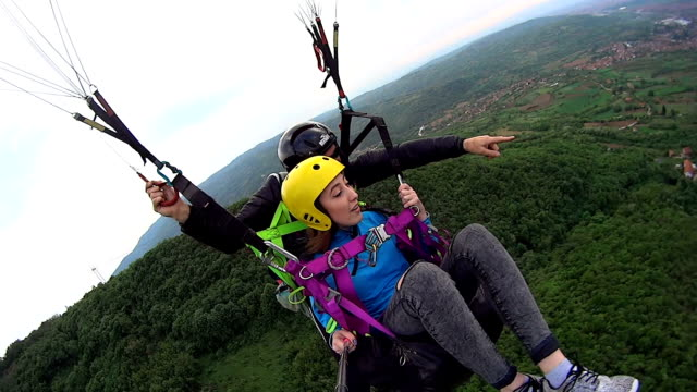 Excited Woman Enjoy Paragliding Stock Video - Download Video