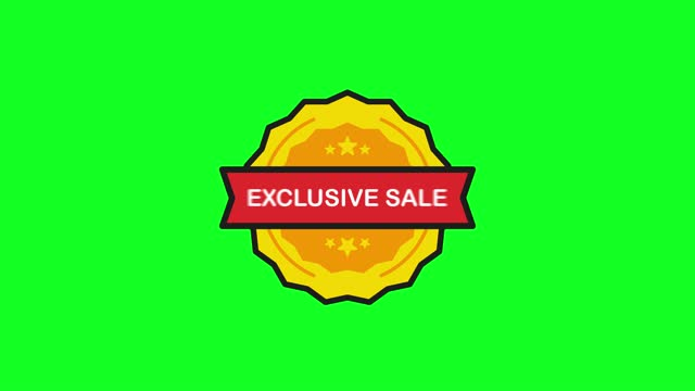 Exclusive Sale Price Tag Stamp in flat style on white background. Motion graphic.