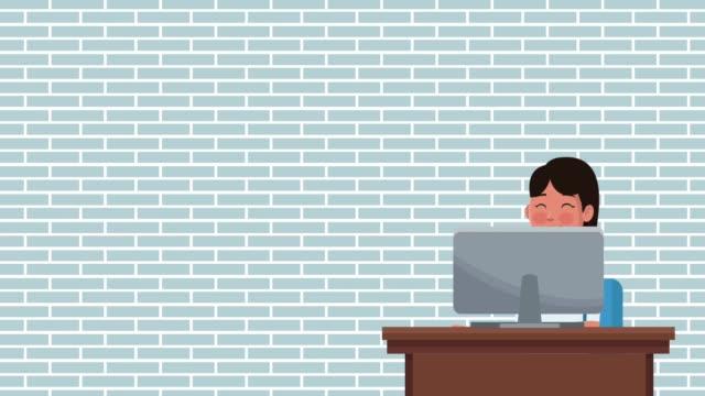 stockvideo's en b-roll-footage met uitvoerend zakenvrouw cartoon hd animatie - bitcoin