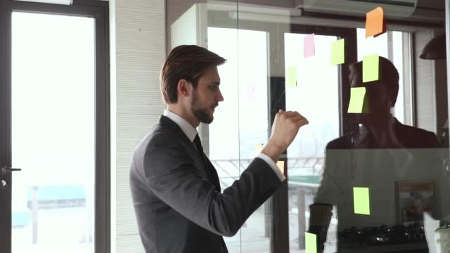 stockvideo's en b-roll-footage met uitvoerende die kleverige nota's op de strategie van de glasmuurplanning bekijkt - bord bericht