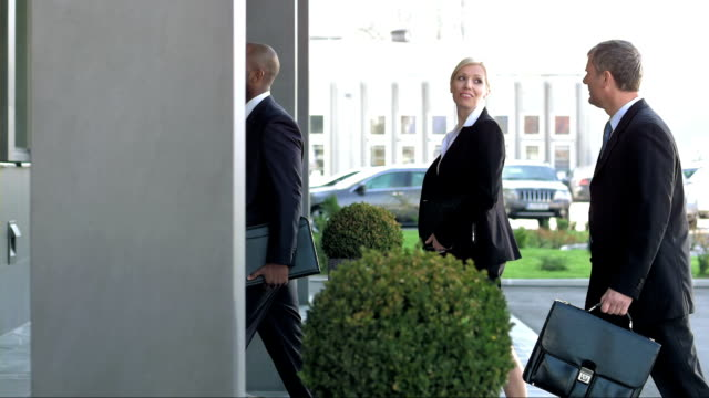 DS TS Executives Entering The Office Building video