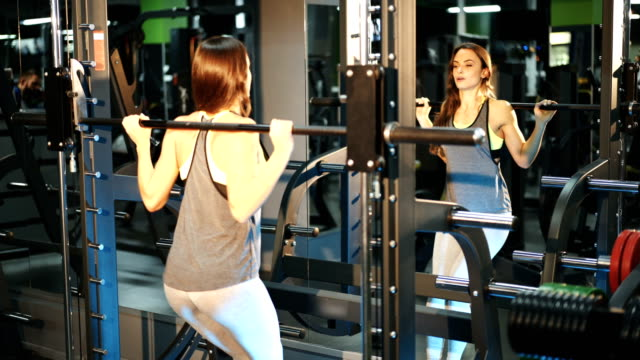 Exercise for fitness in the gym. video