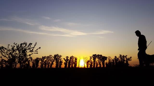 silhouette fitness nel paese al tramonto - viaggio d'istruzione video stock e b–roll