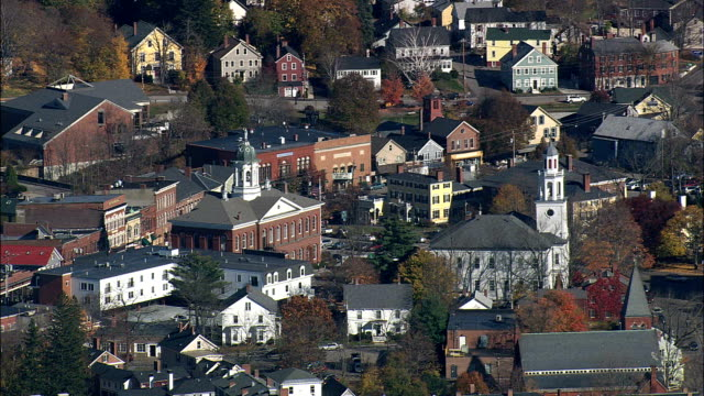 Exeter  - Aerial View - New Hampshire,  Rockingham County,  United States video