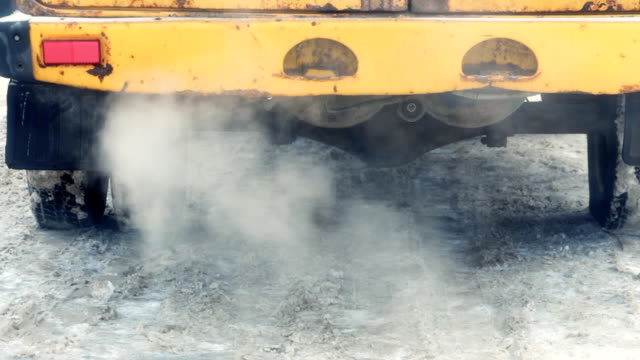 Exhaust gases from the muffler running car video