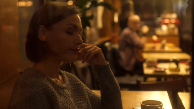 Exhausted lady resting in cafe, tired of hustle and bustle of big city, crisis Exhausted lady resting in cafe, tired of hustle and bustle of big city, crisis relationship breakup stock videos & royalty-free footage