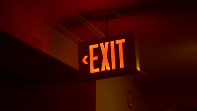 Exit emergency sign in 4K video