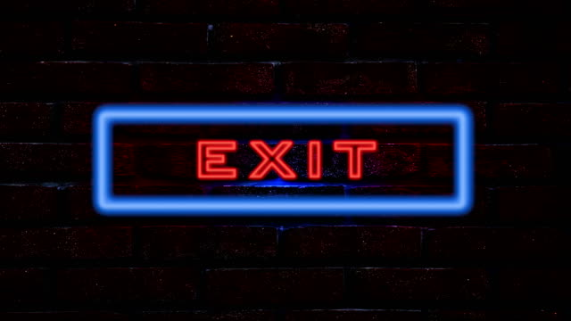 Exit neon sign video