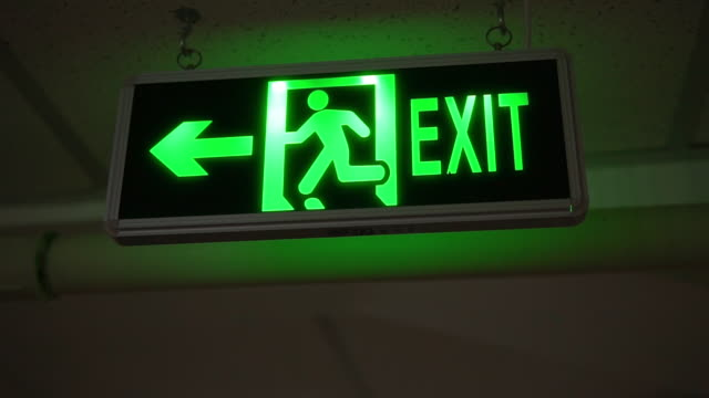 Exit sign safety light panel exit guidance stock videos & royalty-free footage