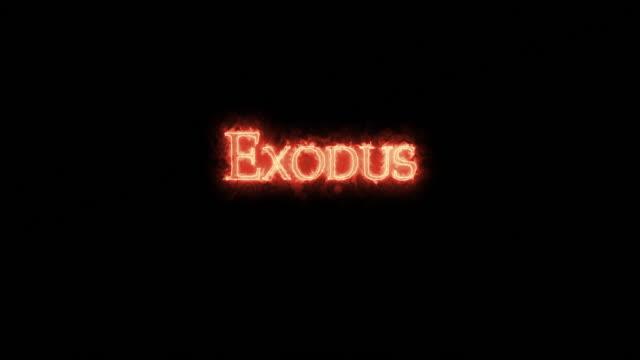 exodus written with fire. loop - ветхий завет стоковые видео и кадры b-roll