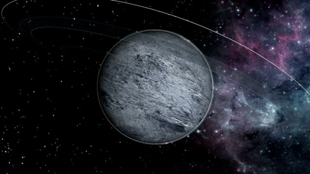 Exoplanet and ring system against nebula backdrop video
