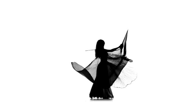 Exotic belly dancer girl dance with wings on white, silhouette video