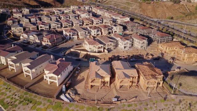 expanding housing development - aerial view - osiedle mieszkaniowe filmów i materiałów b-roll