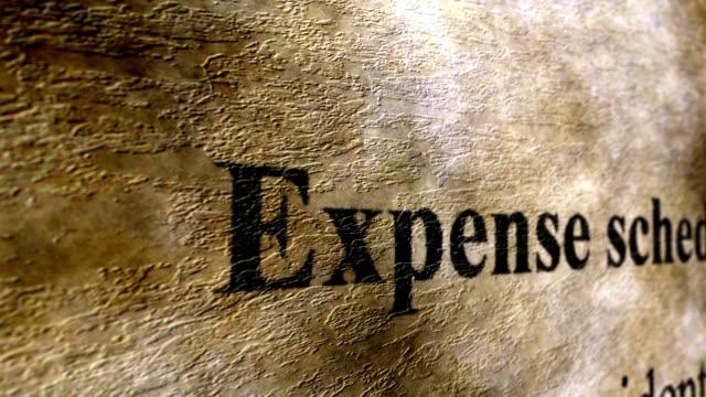 Expense schedule grunge concept