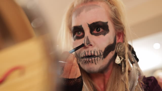 expert face painting - halloween stock videos & royalty-free footage